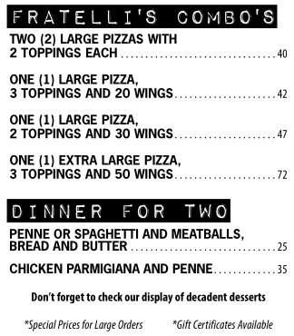 Fratellis Take out Specials Pizza and Wings